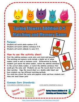 Spring Flowers Number and Addition Memory Games 0 to 5