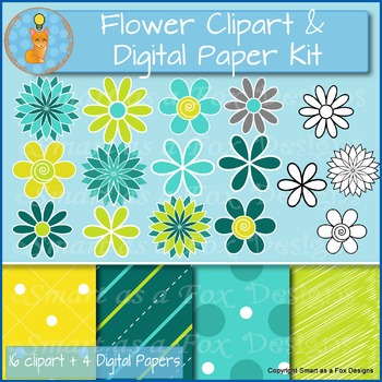 Spring Flowers and Digital Papers Bundle for Product Covers