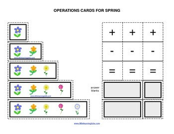 Spring Flowers operations cards prek primary math addition