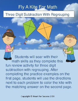 Spring Fun: Fly A Kite For Math (Three Digit Subtraction W