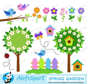 Spring Garden. Digital Clipart. Creative Clips.  Instant Download