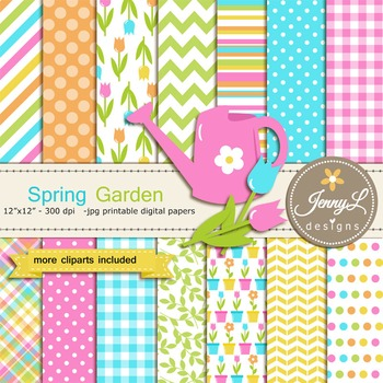 Spring Garden Digital Paper and Flower Clipart