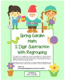 """Spring Garden Math"" 2 Digit Subtraction With Regrouping -"