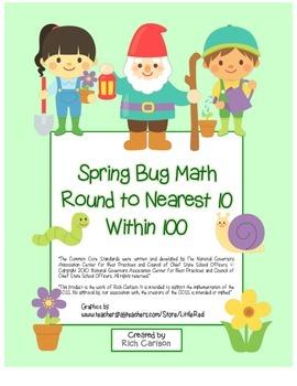 """""""Spring Garden Math"""" Place Value – Round Nearest 10 Within"""