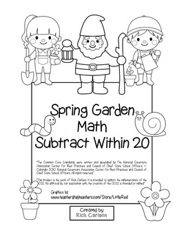 """""""Spring Garden Math"""" Subtract Within 20 - Common Core - Fu"""