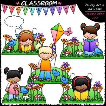 Spring Girls Clip Art - Spring Kids Clip Art