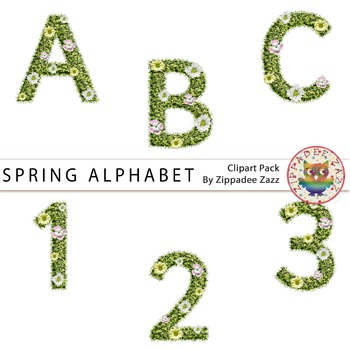 Spring Grass with Flowers Alphabet and Number Clipart #Dec