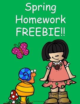 Spring Homework FREEBIE!!