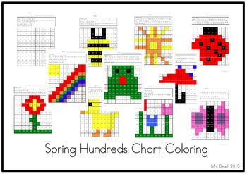 Spring Hundreds Chart Coloring 1-100