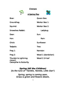 Spring Life Cycle Play or Reader's Theater
