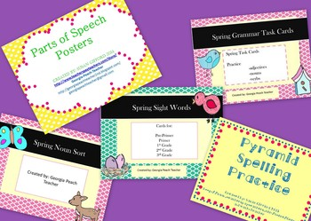 Spring Literacy Bundle- Sight Words, Spelling, Vocabulary,