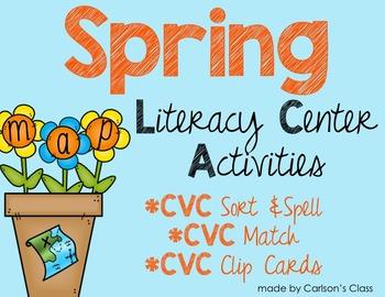 Spring Literacy Center Activities -- CVC Words