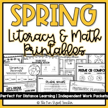 Spring Literacy and Math Printables - No Prep