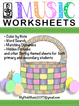 Spring Easter MUSIC sheets: hidden picture, word search, c
