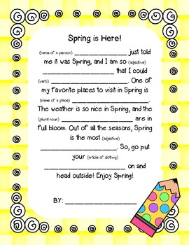 Spring Mad-Libs writing FREEBIE!