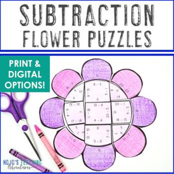 Spring Math Centers: Subtraction Flower Puzzles