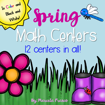 Spring Math Centers for First Grade- 12 Centers in Color a