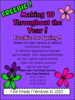 Spring Math Making Tens Freebie!  Common Core Operations &