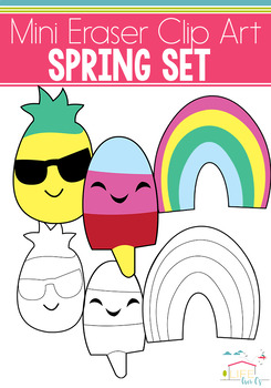 Spring Mini Eraser Clip Art: Pineapple, Rainbow, Popsicle