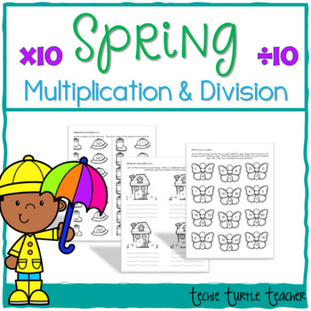 Spring Multiplication and Division Practice - 10s Facts