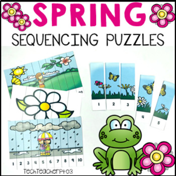 Spring Number Sequencing Puzzles 1-20 Cut and Paste Colour
