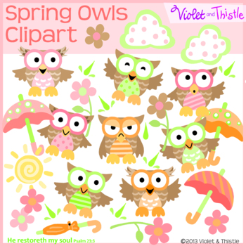 Spring Rain Owls Clipart Clip Art Rain Umbrella Flowers Su