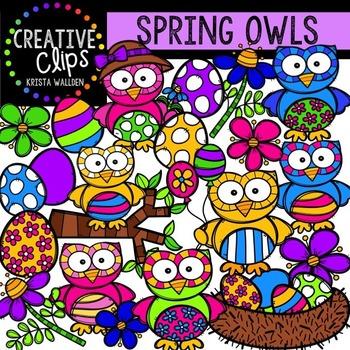 Spring Owls {Creative Clips Digital Clipart}