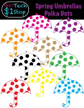 Spring * Polka Dot Umbrella Clipart * Rainy Days