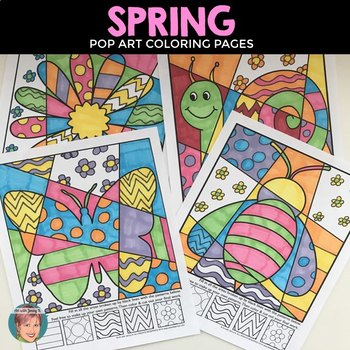 Pop Art Interactive Coloring Sheets for Spring - Fun & Eng