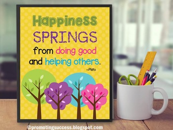 Spring Quote Poster About Happiness Yellow Classroom Decor