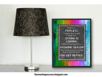 Motivational Spring Quote Poster with Rainbow Classroom Decor