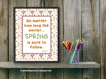 Spring Inspirational Quote Poster Classroom Decor
