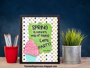 Cupcakes Theme Spring Quote Poster for FUN Classroom Decor