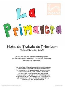 Spring Preschool Worksheets in Spanish / Hojas de trabajo