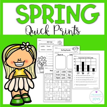 Spring Math and Literacy Worksheets  - Grade 1