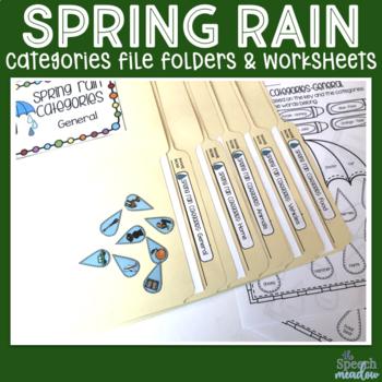 Spring Rain Categorization File Folder Game