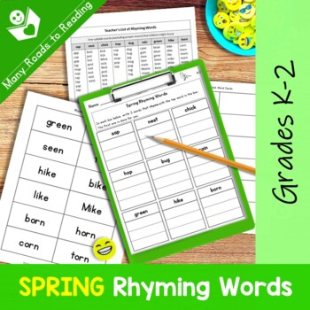 Spring Rhyming Words: Grades K-2