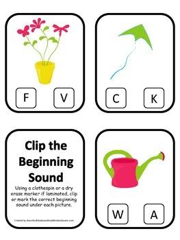 Spring Season themed Beginning Sounds Clip it Cards presch