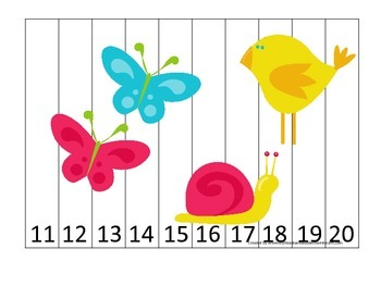 Spring Season themed Number Sequence Puzzle 11-20 preschoo