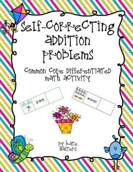 Spring Self-Correcting Addition Center {Differentiated and