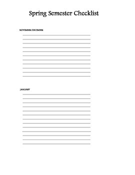 Spring Semester Preperation To-Do List