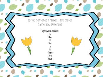 Spring Sentence Frames- Same and Different
