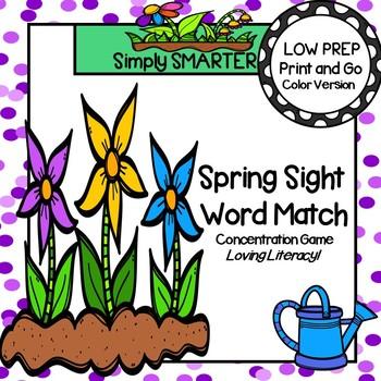 Spring Sight Word Match:  LOW PREP Beginning Sight Words C