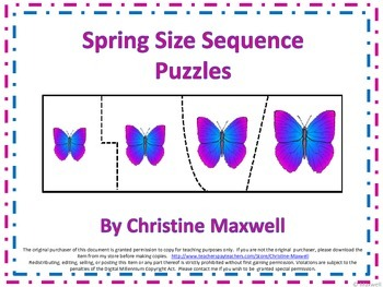 Spring Size Sequence Puzzles 18 Sets of 4 Picture Puzzles