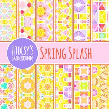 Spring Splash Watercolor Digital Papers / Patterns / Backg