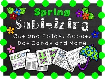 Spring Math Activities - Dot Cards, Ten Frames, Cut and Fo