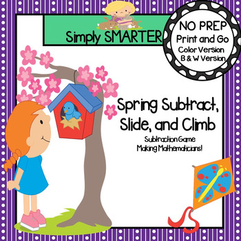 Spring Subtract, Slide, and Climb:  NO PREP Subtraction Game