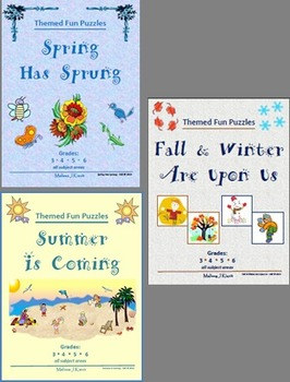 Spring, Summer, Fall, Winter Bundle - Fun Themed Puzzles &