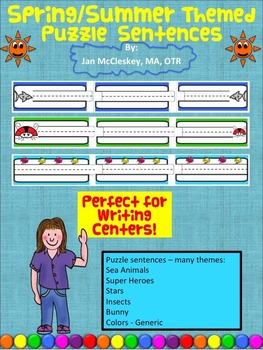 Handwriting: Spring Summer Puzzle Sentence Strips for Cent