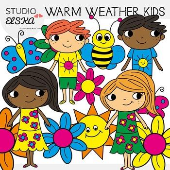 Warm Weather Kids Clipart - Studio Elska